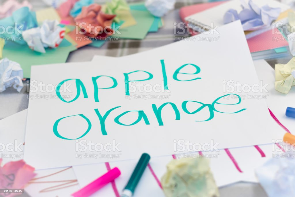 English; Kids Writing Name of the Fruits for Practice stock photo