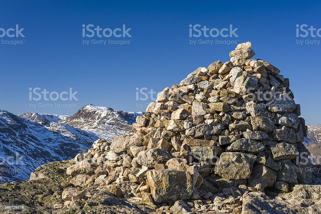 English Lake District: cairn on Pike of Blisco royalty-free stock photo