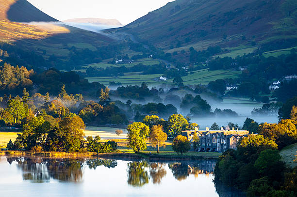 English Lake District: Grasmere sunrise Misty October sunrise in Grasmere, in the English Lake District. cumbria stock pictures, royalty-free photos & images
