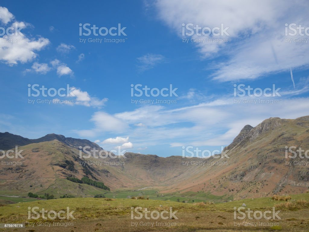 English Lake District, Langdale looking down Mickleden on a sunny day stock photo