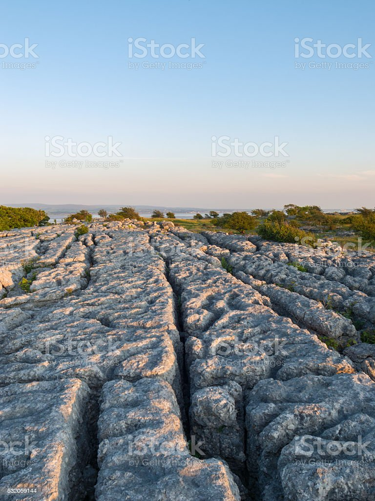 English Lake District: limestone pavement Hampsfell stock photo