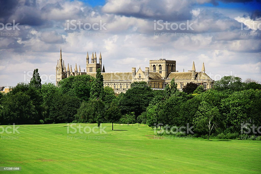 English landscape with catherdral and park stock photo