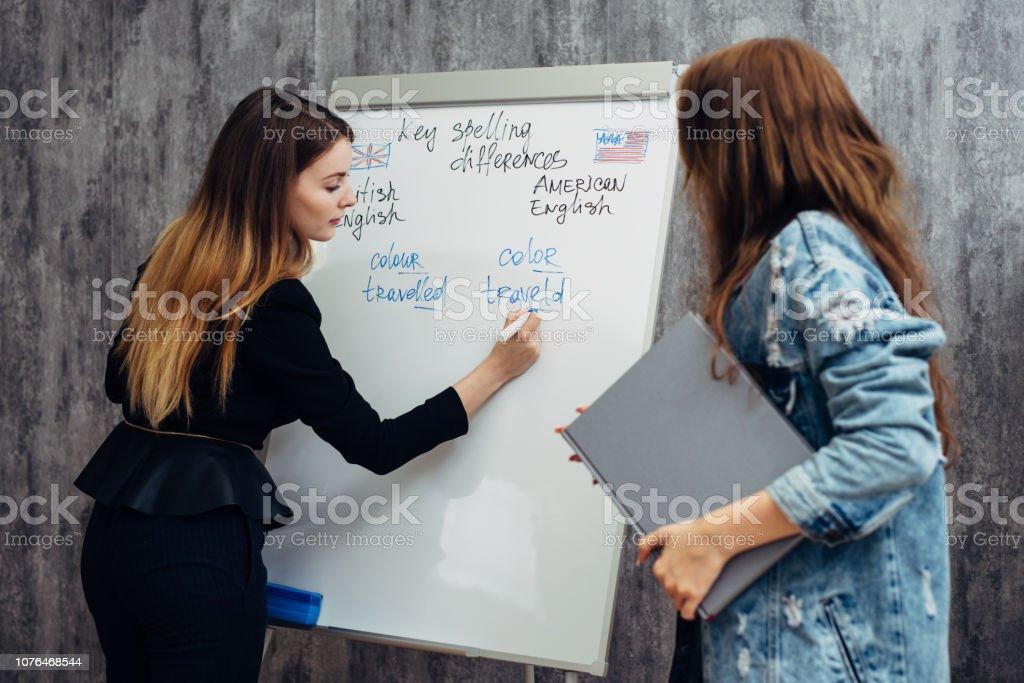 English language school. Lesson, teacher and student talking. English language school. Lesson, teacher and student talking Adult Stock Photo