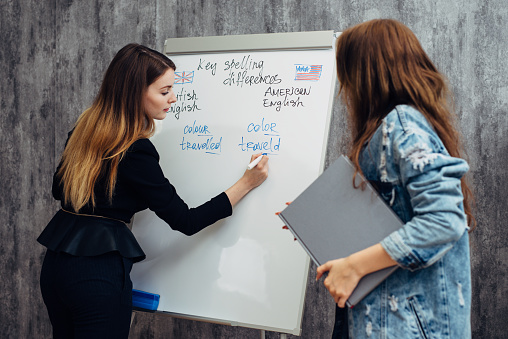 English Language School Lesson Teacher And Student Talking Stock Photo - Download Image Now