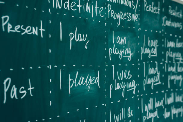 english lesson, school, learn foreign language. chalkboard. verb tenses grammar. - topics stock pictures, royalty-free photos & images
