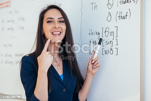 istock English lesson Teacher shows how to pronounce the sounds 1130289796