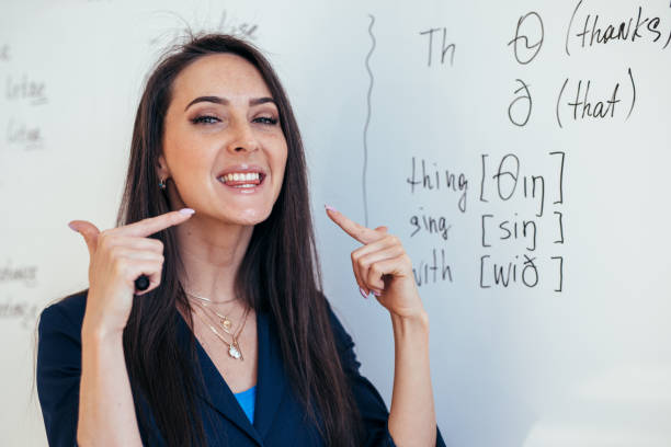 English lesson Teacher shows how to pronounce the sounds stock photo