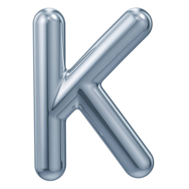 english metallic letter k, 3d rendering isolated on white background - k logo zdjęcia i obrazy z banku zdjęć