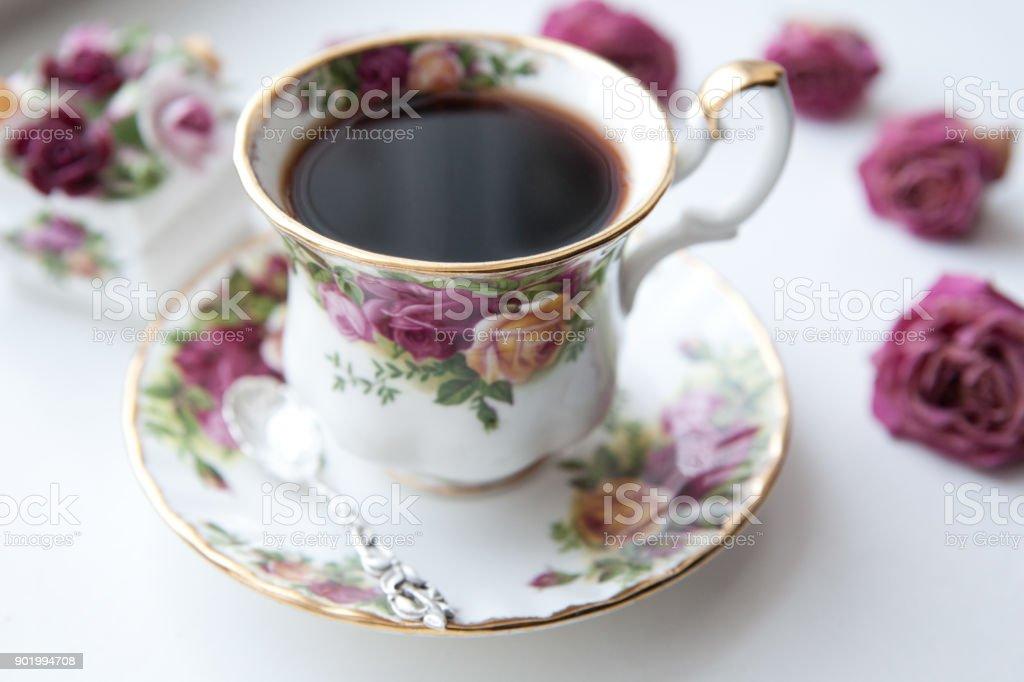 English morning tea cup rose stock photo