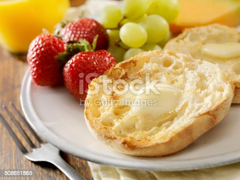 English Muffins with Melted Butter -Photographed on Hasselblad H3D2-39mb Camera