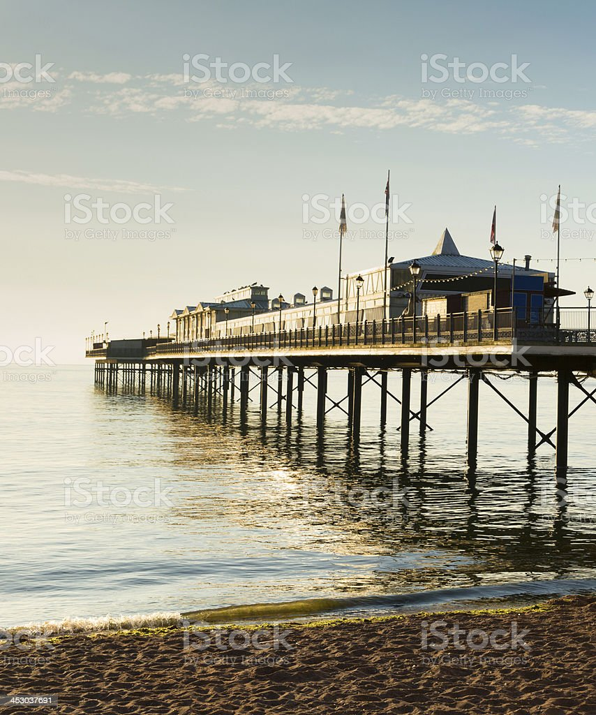English Pier by the sea, a tradititonal structure stock photo