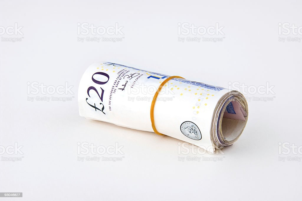 English pound notes, isolated on white stock photo