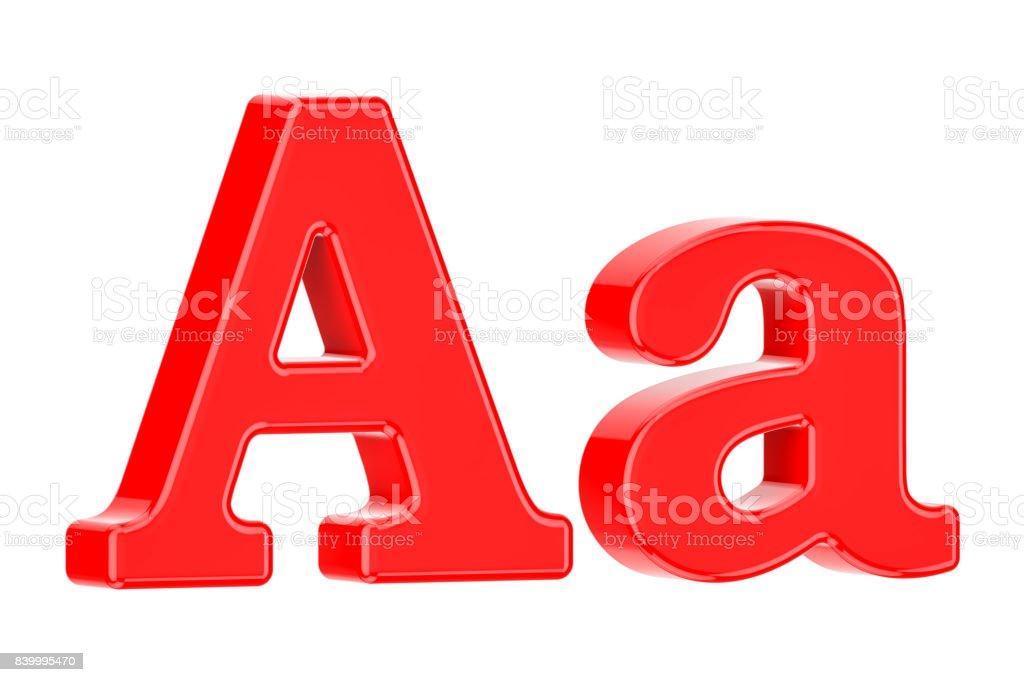 Kırmızı harf A, izole üzerinde beyaz arka plan render 3D Türkçe stok fotoğrafı