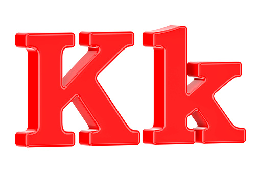 English Red Letter K 3d Rendering Isolated On White Background — стоковые фотографии и другие картинки Алфавит