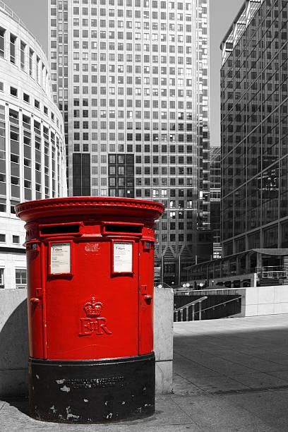 English red pillar box - London - foto de stock
