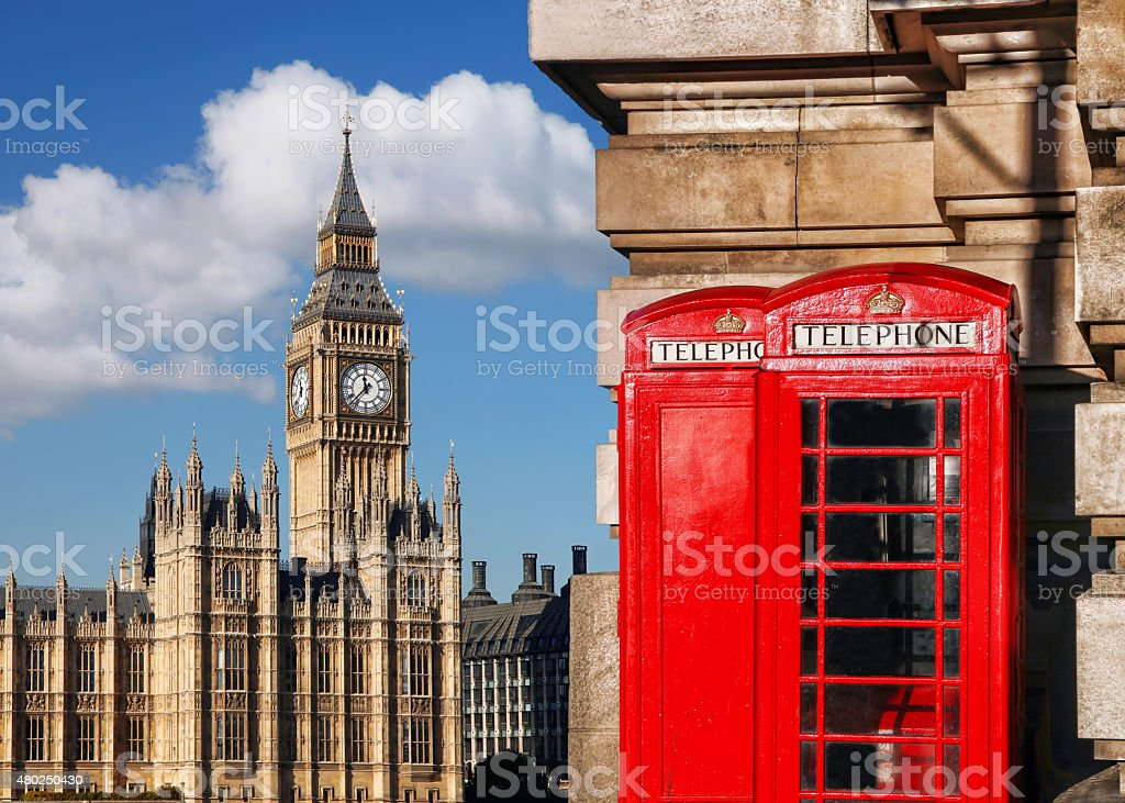English red telephone booths with Big Ben in London, UK stock photo