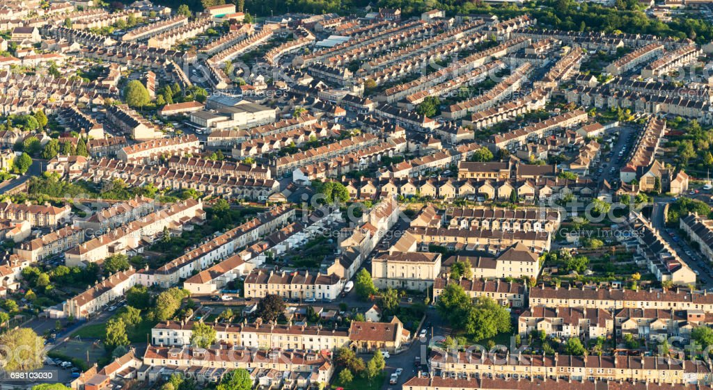 English residential streets photographed from the air stock photo