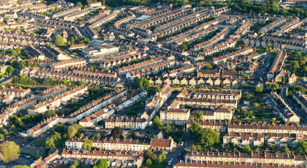 English residential streets photographed from the air Terraced houses in Somerset, England, photographed from a hot-air balloon. somerset england stock pictures, royalty-free photos & images