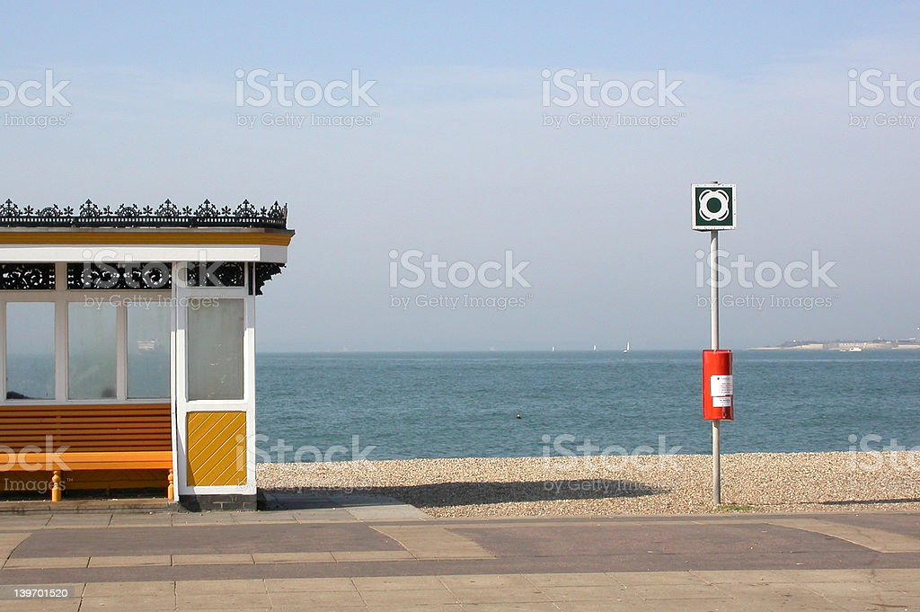 English Seaside Beach Shelter stock photo