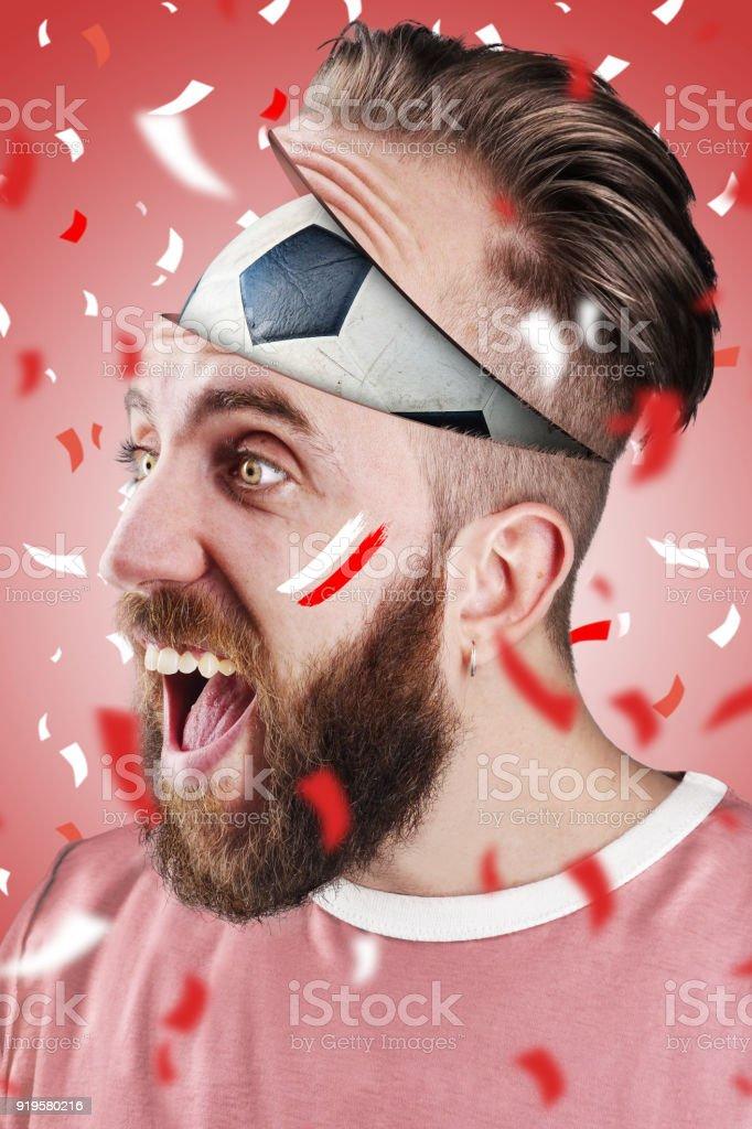 English soccer fan with football inside the head - foto stock