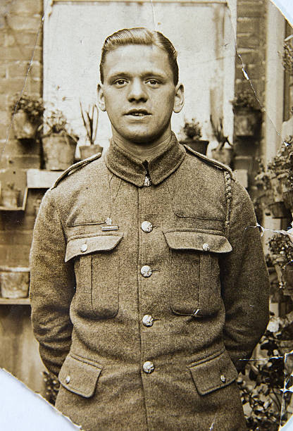 english soldier, portrait  of young man 1940th, vintage photo - 20世紀 ストックフォトと画像