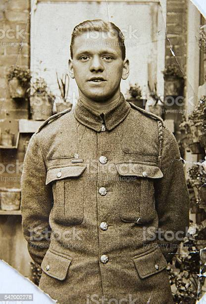 English Soldier Portrait Of Young Man 1940th Vintage Photo Stock Photo - Download Image Now