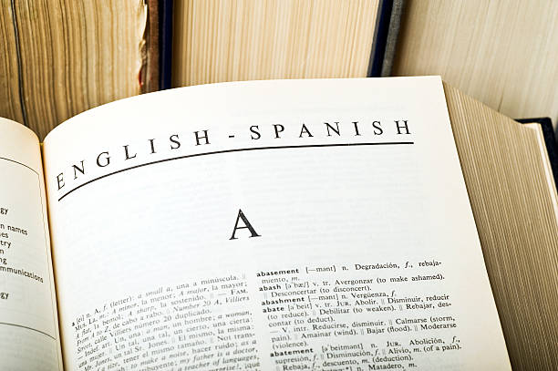 Inglés, español Diccionario - foto de stock