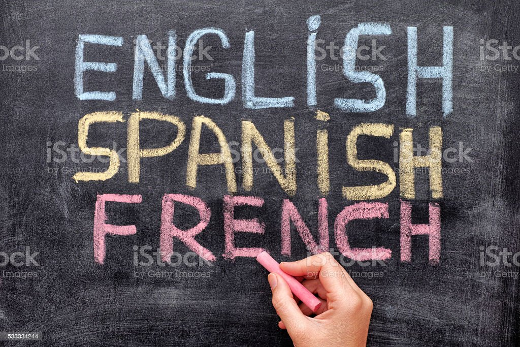 English Spanish French stock photo