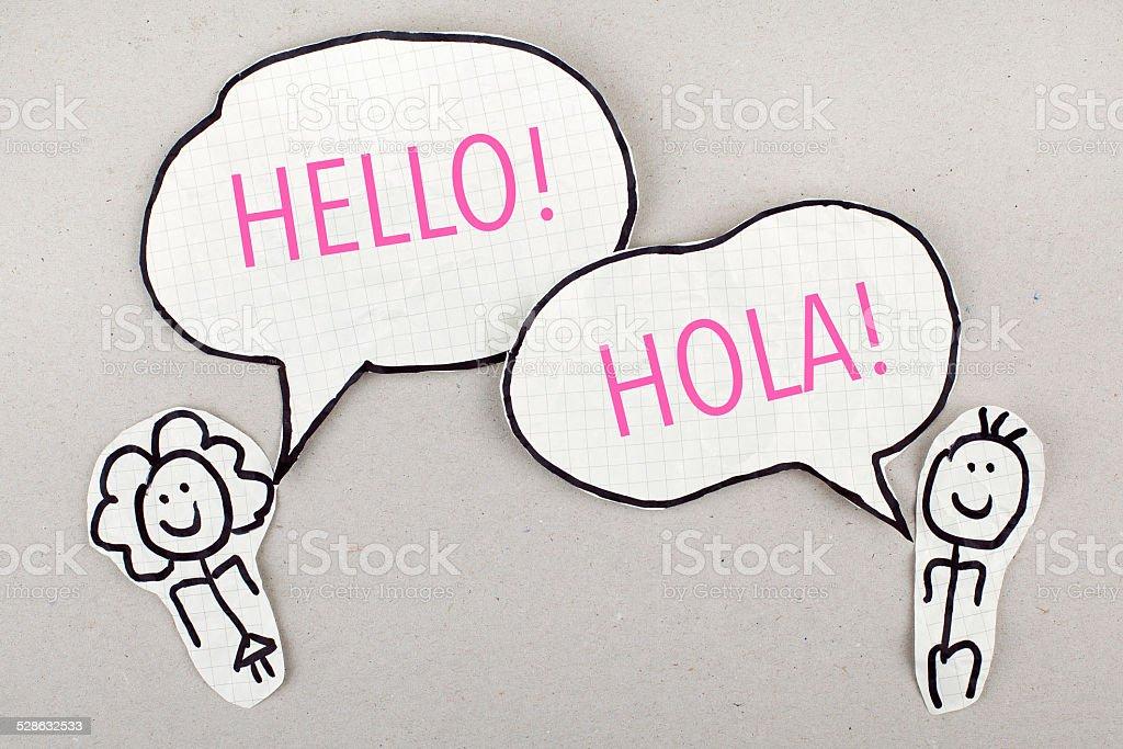 English / Spanish Speaking Learning\speaking languages concept Bilingual Stock Photo