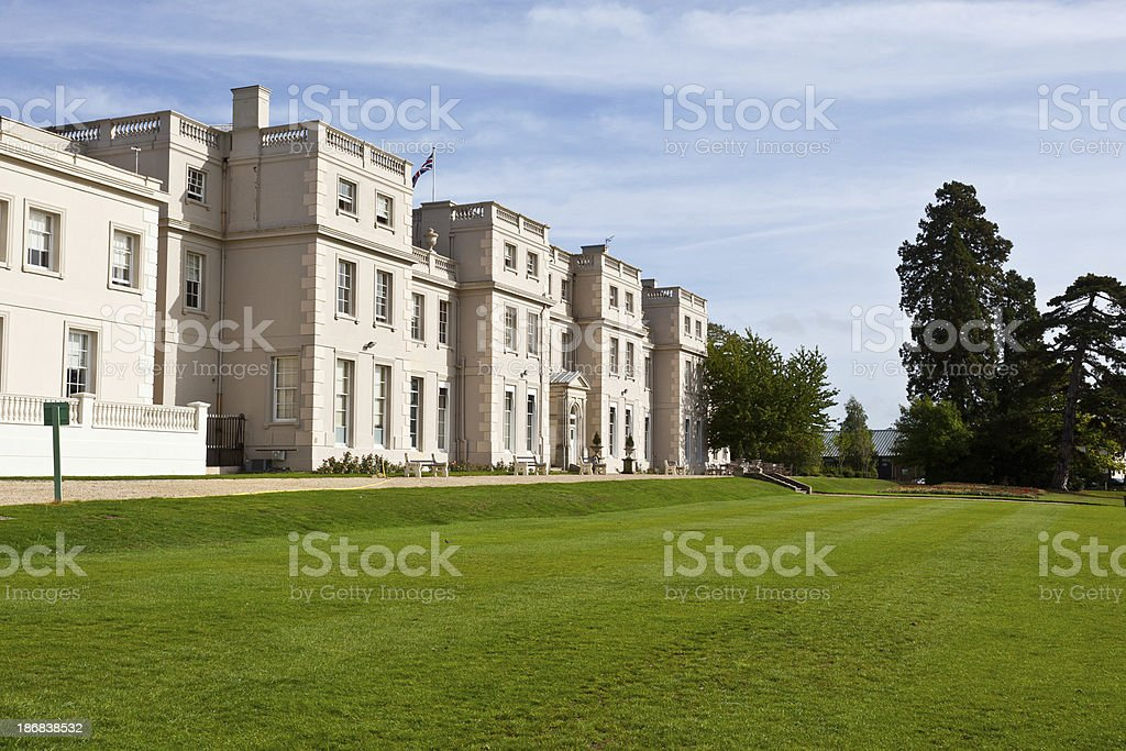 English Stately home with lawn stock photo