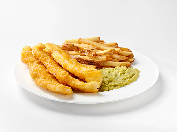 English Style Fish and Chips with Mushy Peas stock photo