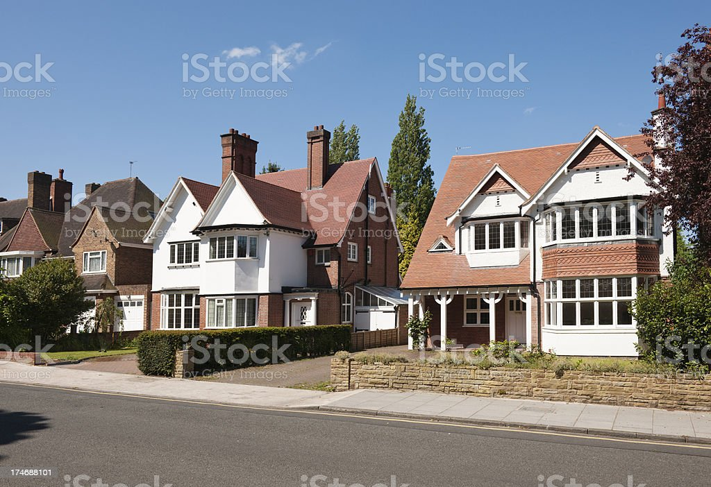 English Suburban Houses stock photo