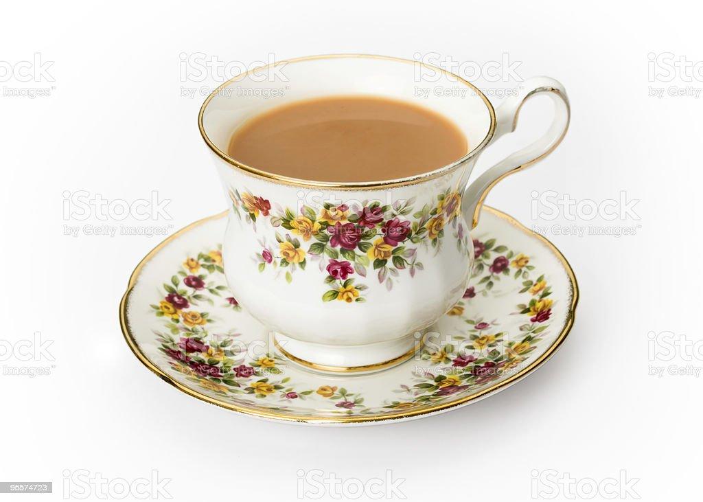English tea in a bone china cup stock photo