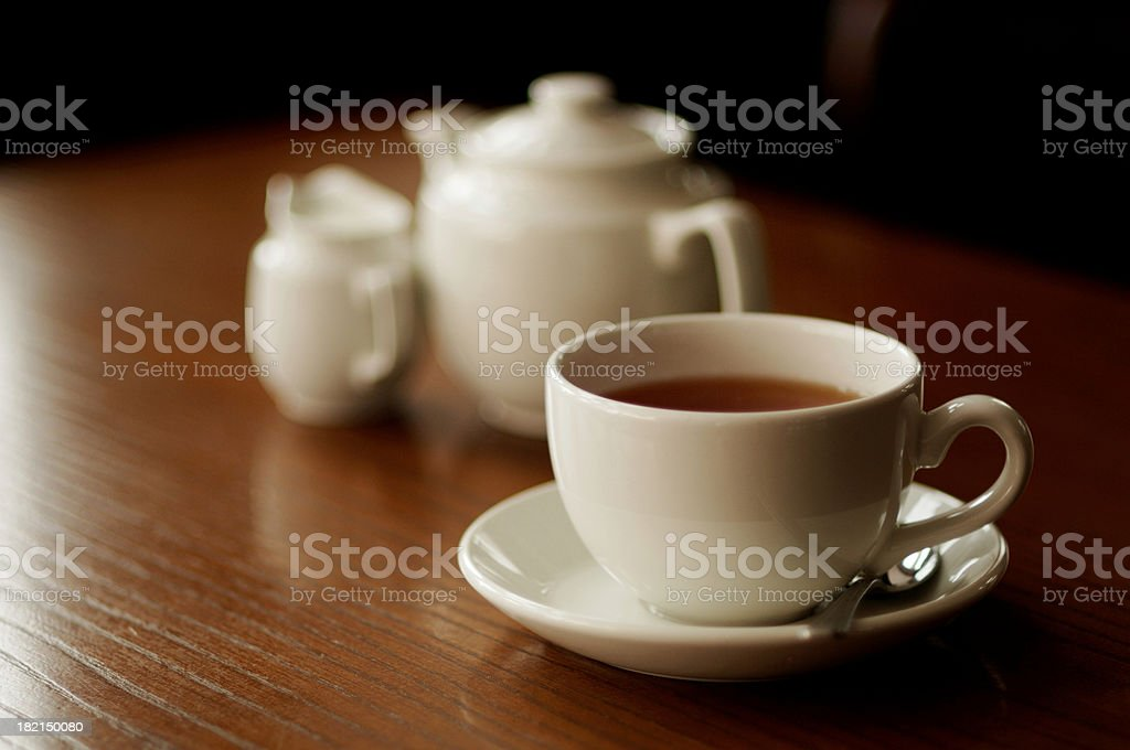 english tea service, shallow focus restaurant table royalty-free stock photo
