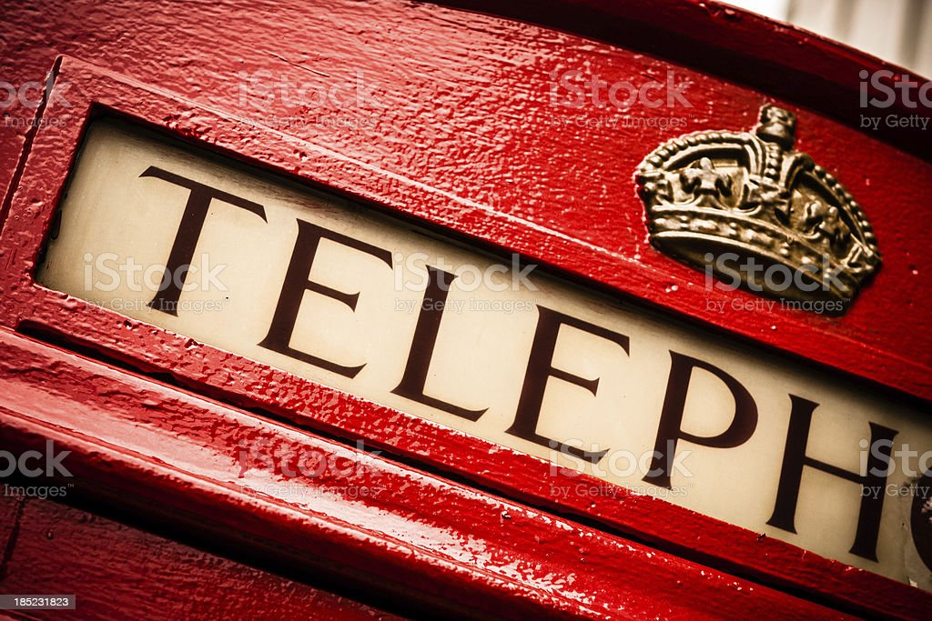 English Telephone Booth Detail, London stock photo