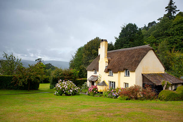 english thatched cottage - kır evi stok fotoğraflar ve resimler