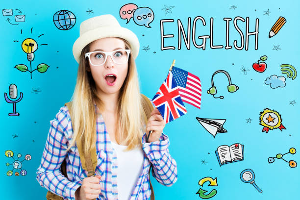 englische thema mit junge frau mit flaggen - schöne englische wörter stock-fotos und bilder