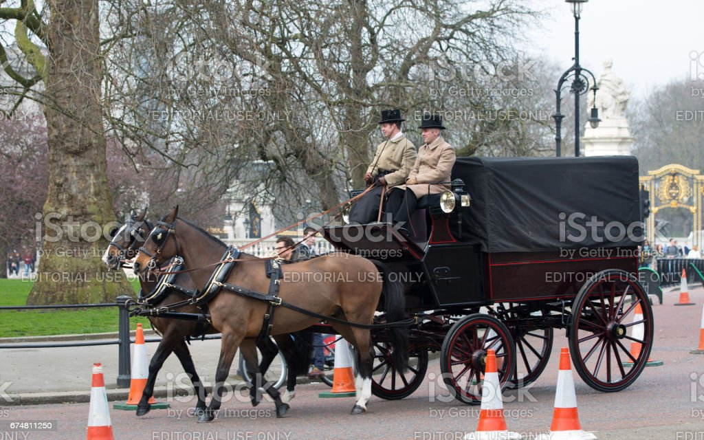 English traditional Coach of 19th century with two horses and coachman. London stock photo