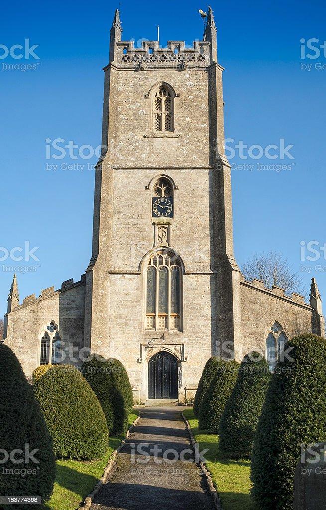 English village church, Nunney, Somerset, UK stock photo