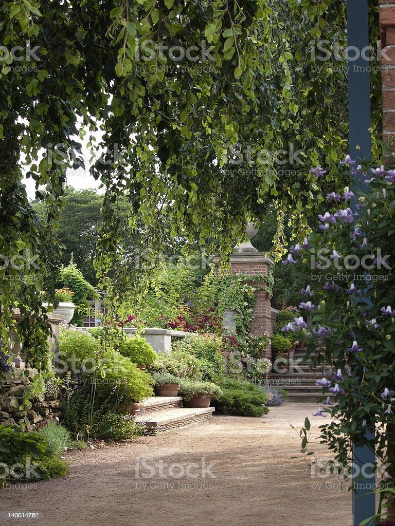 English Walled Flower Garden stock photo