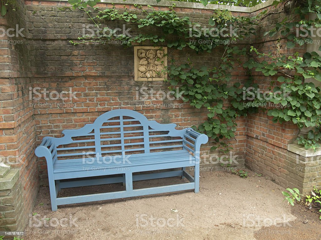 English Walled Garden and Park Bench stock photo