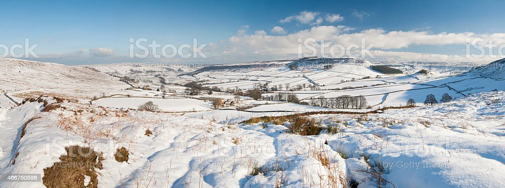 English winter countryside snowy landscape stock photo