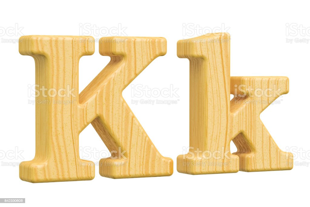 English wooden letter K, 3D rendering isolated on white background - Стоковые фото Алфавит роялти-фри
