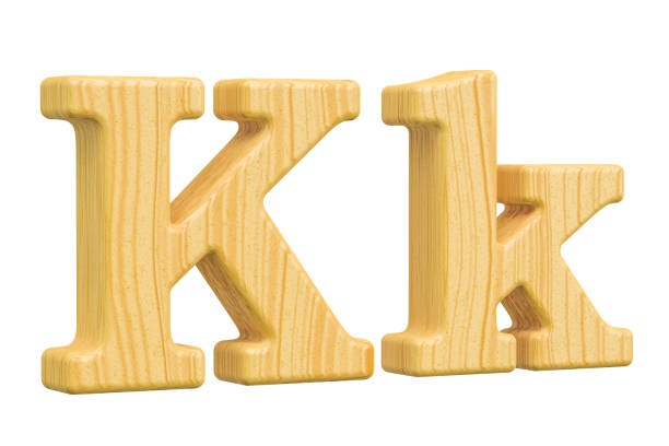 english wooden letter k, 3d rendering isolated on white background - k logo zdjęcia i obrazy z banku zdjęć