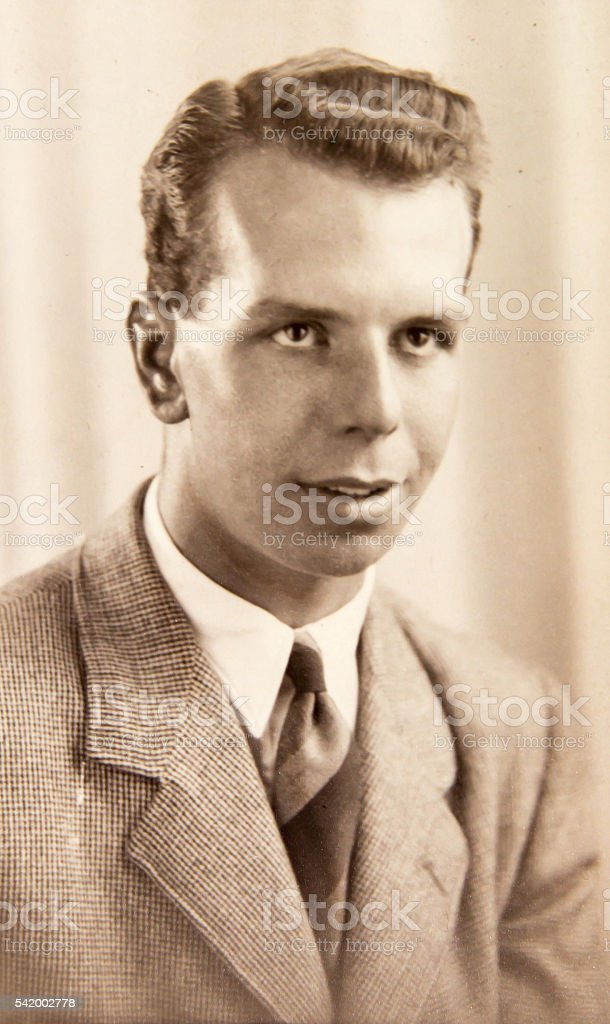 English young man 1940th, vintage photo stock photo
