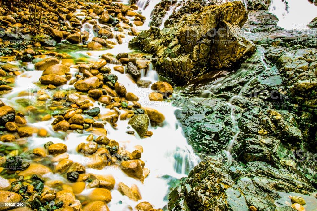 Englishman River Falls in Parksville, British Columbia stock photo