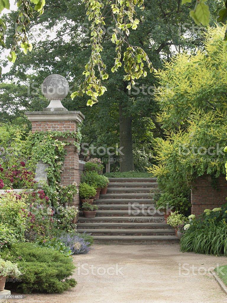 English-Style Walled Flower Garden stock photo