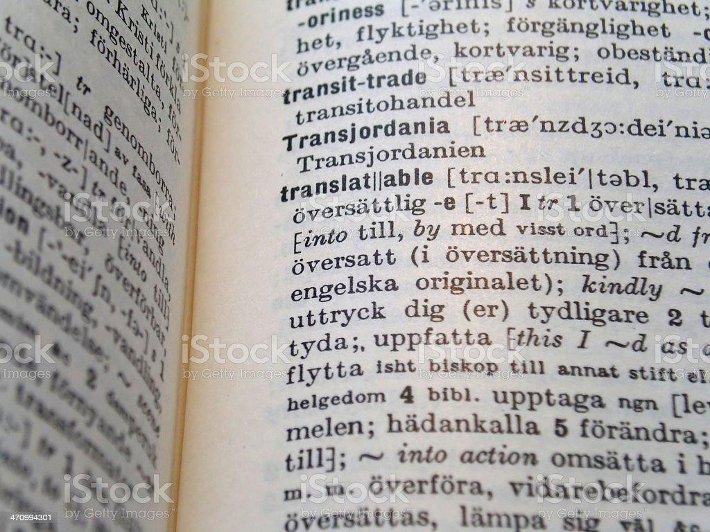 English/Swedish Translation royalty-free stock photo