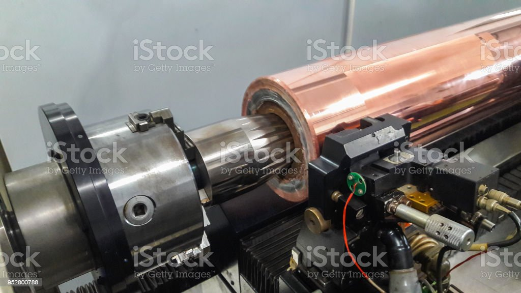 Engrave machine with rotogravure cylinder stock photo