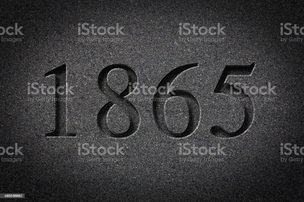 Engraved Historical Year 1865 stock photo